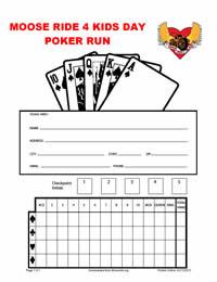 Poker run score sheets